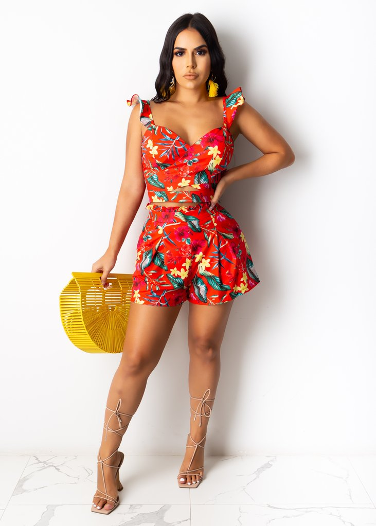 Floral 2 Piece Sleeveless Melody Night Short Set