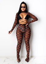 Tight Fitting Open Front Long Sleeve Halter 3 Piece Denna Print Jumpsuit Romper