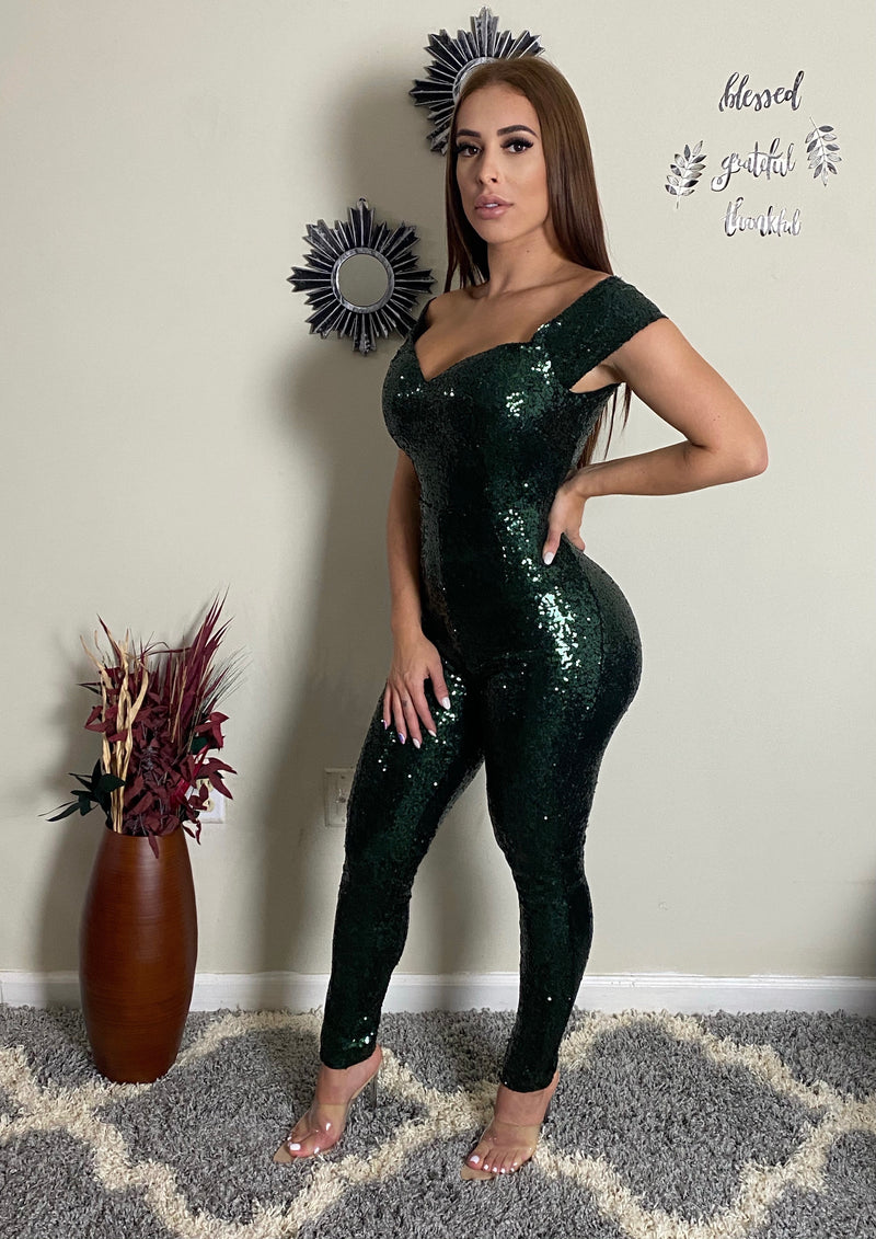 Lulu Off shoulder Sequin Jumpsuit