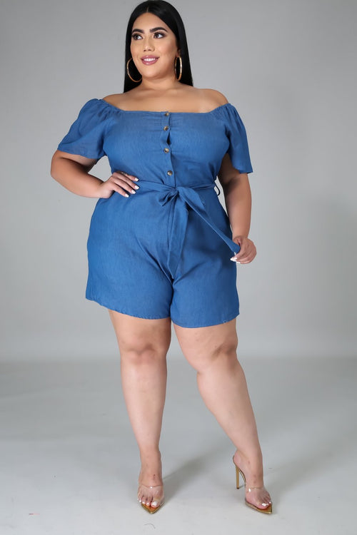 Short-Sleeve Selena Out Of My Way Denim Romper Midi Plus Size Jumpsuit