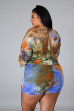 Full Sleeve 2 Piece Pamela Tie Dye Short Set Mini Dress for Plus Size