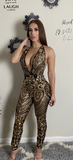 Tina Gold Sequins Halter Open Back Jumpsuit