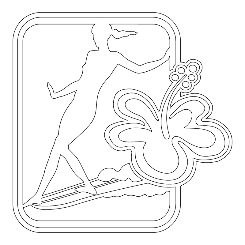Inbloom Stickers Girl Surfer with Flower Car Sticker