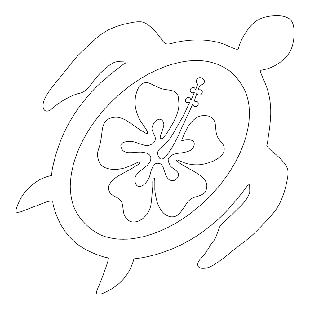 Inbloom Stickers Turtle With Hibiscus Car Sticker