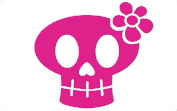 "053 Big Girly Skull  5"" x 5"""