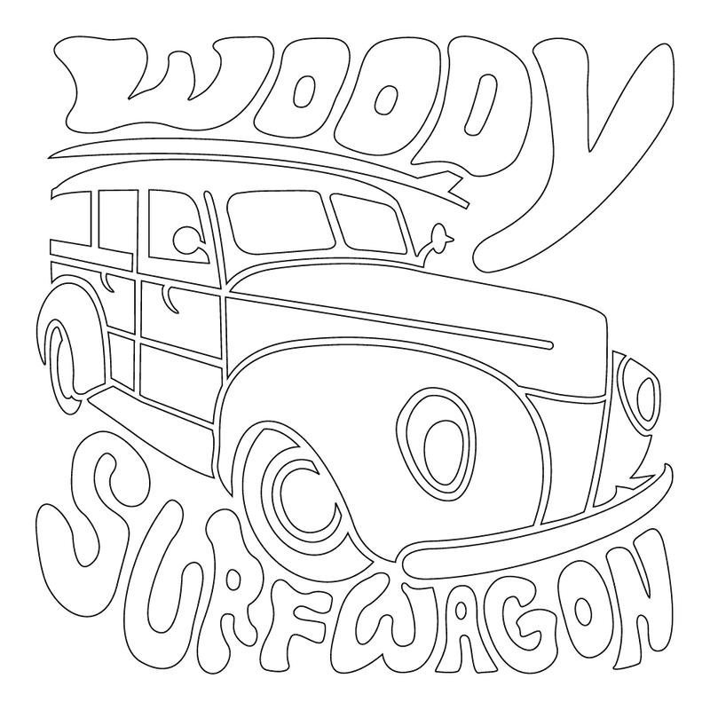 Inbloom Stickers Woody Surf Wagon Car Sticker