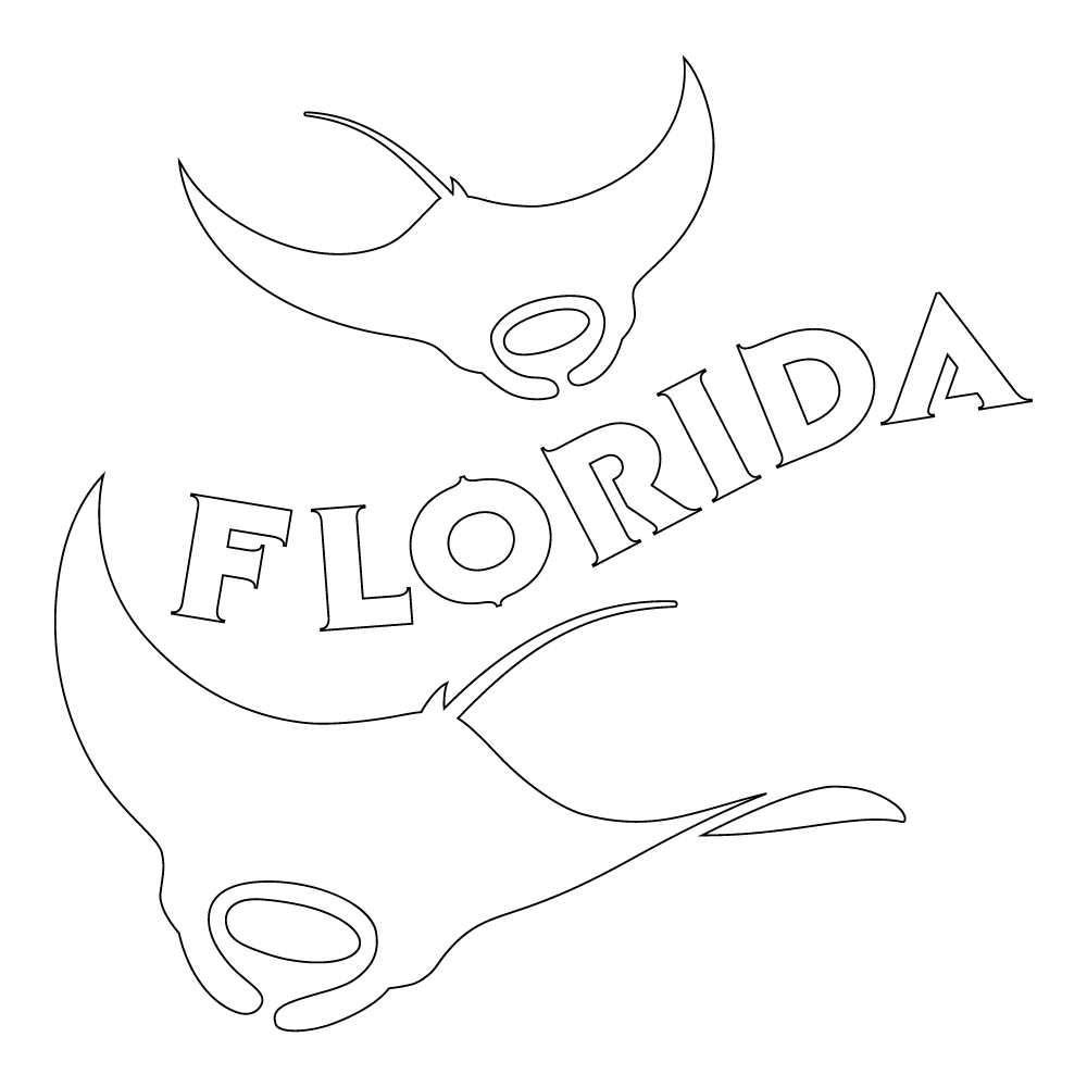 Inbloom Stickers Florida Manta Rays Car Sticker