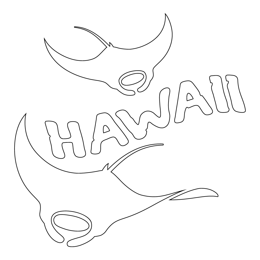 Inbloom Stickers  Hawaii Manta Rays Car Sticker
