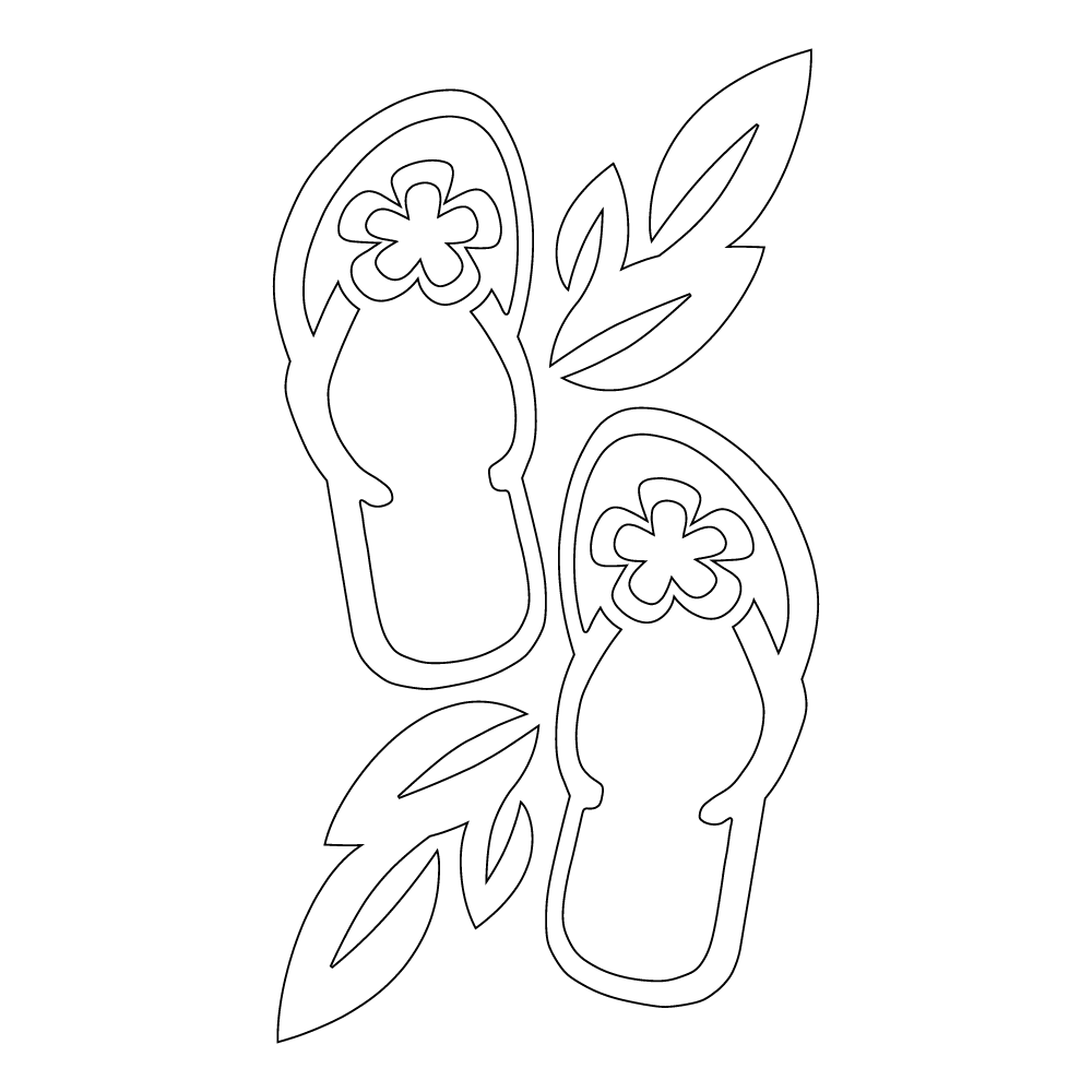 Inbloom Stickers Flip Flops with Leaves Car Sticker