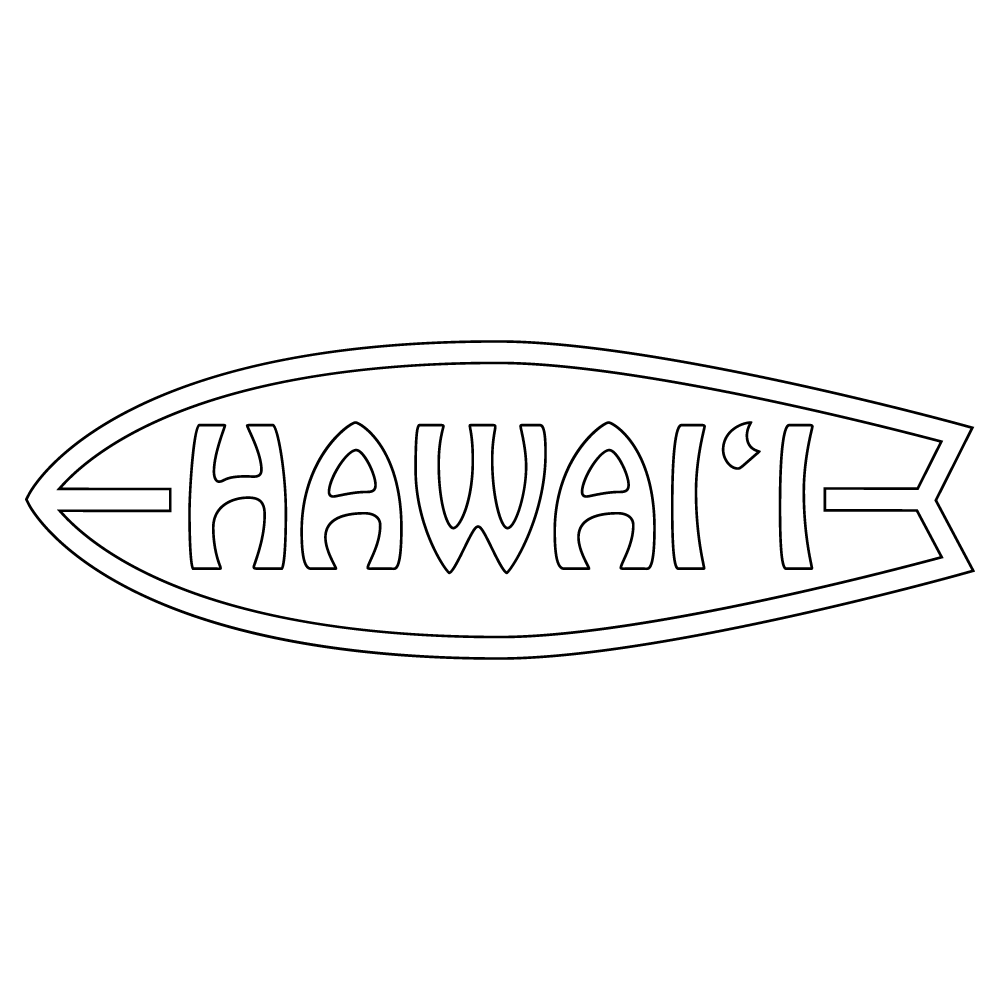 Inbloom Stickers Hawaii Surfboard Car Sticker