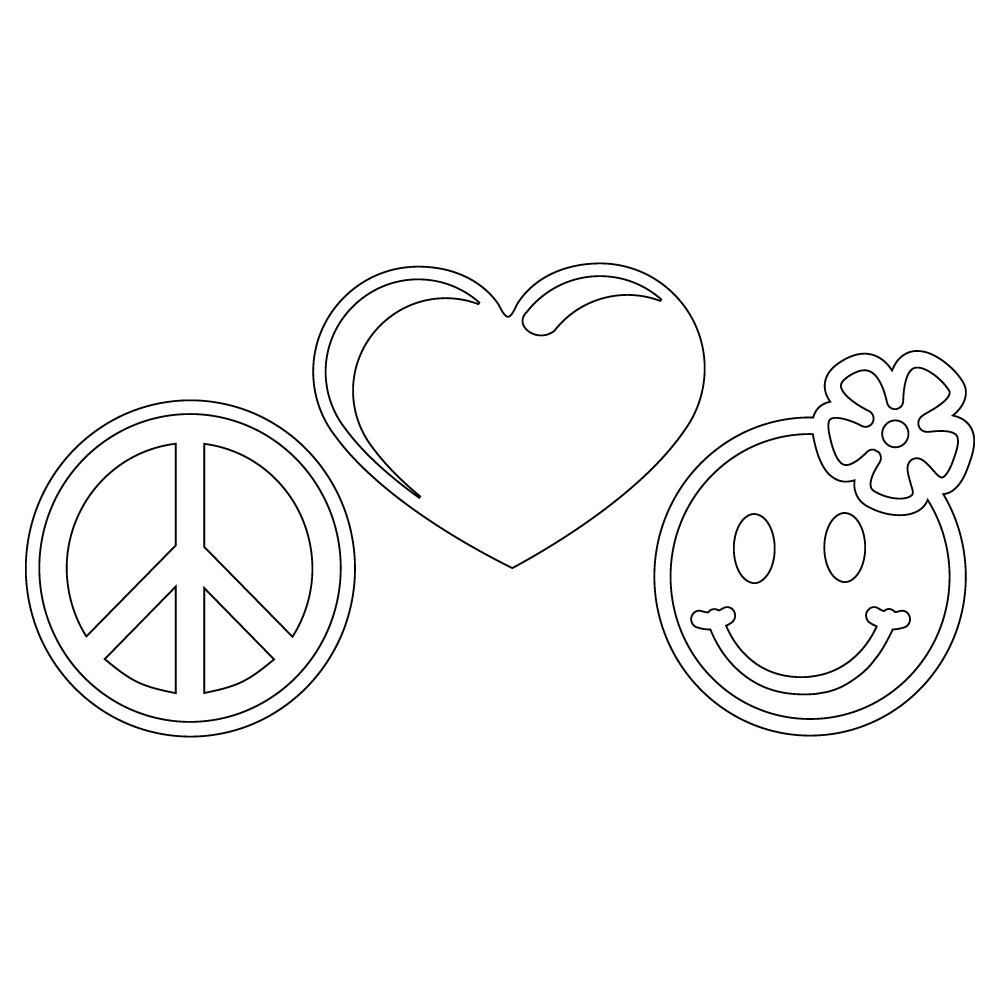 Inbloom Stickers Peace Love, & Happy Car Sticker
