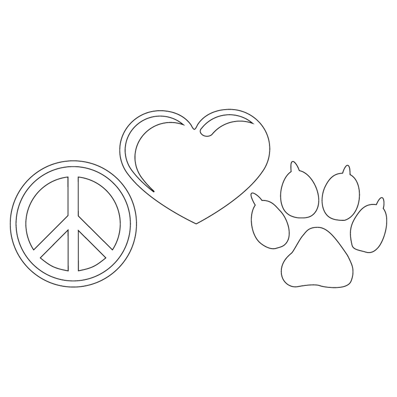 Inbloom Stickers Peace Love Paw Car Sticker