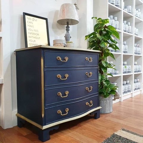 Hand Painted dresser in Blue painted with Annie Sloan Chalk Paint at Love Restored