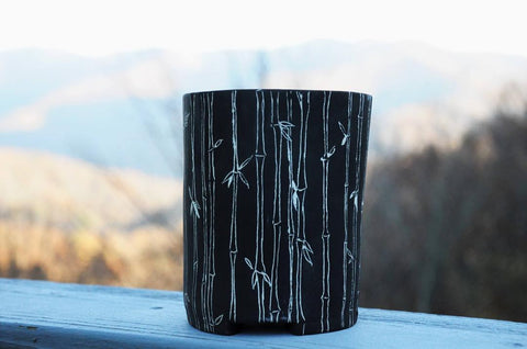 Tumbler glass painted using a Sgraffito technique and Annie Sloan Paint