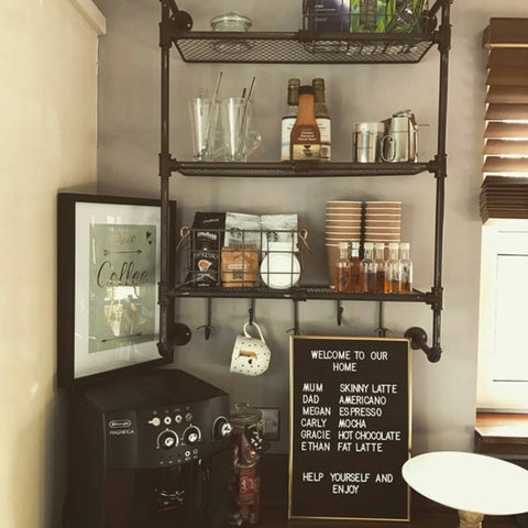 Image of a coffee area in a kitchen with a Bohemian feeling