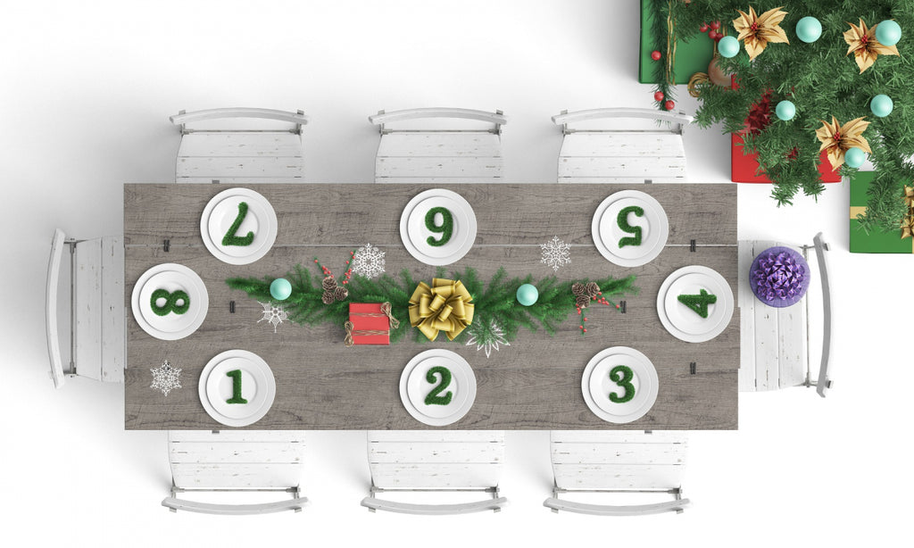 Christmas dinner table layout with numbered seating