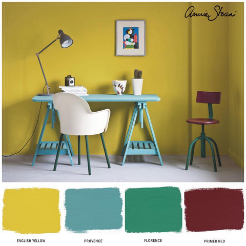 Image of a yellow room and swatches of Annie Sloan Chalk Paint