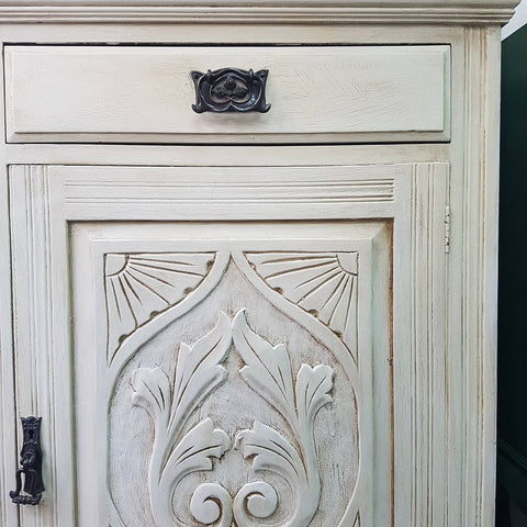 Sideboard painted in Annie Sloan white chalk paint.