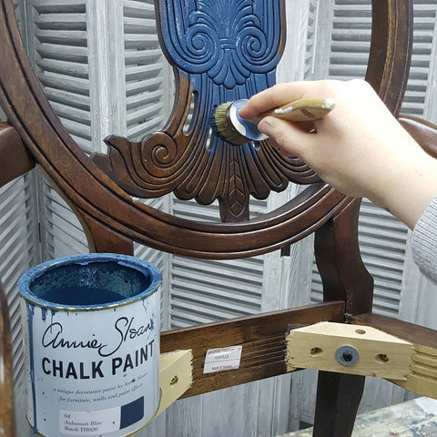 Repainting an old chair with blue Annie Sloan Chalk Paint