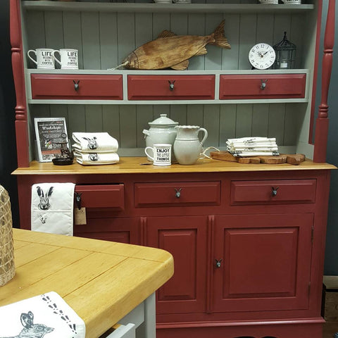 Kitchen sideboard painted in a red Annie Sloan Chalk Paint