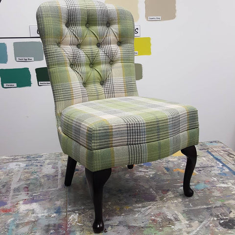 Old chair upcycled with new upholstery