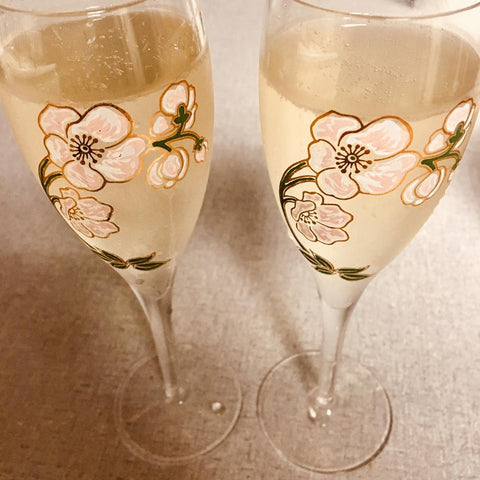 Pair of wine glasses personalised for Valentines Day