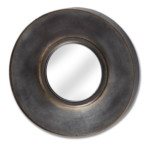 Black & Bronze Patina Round Mirror