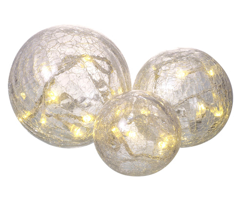 3 Crackle Glass Globes