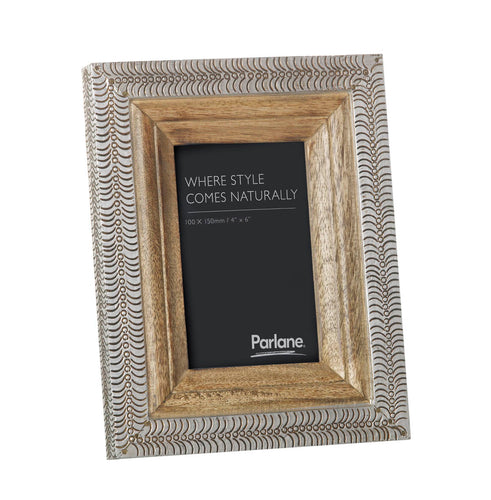 Silver & Wood Picture Frame 4x6