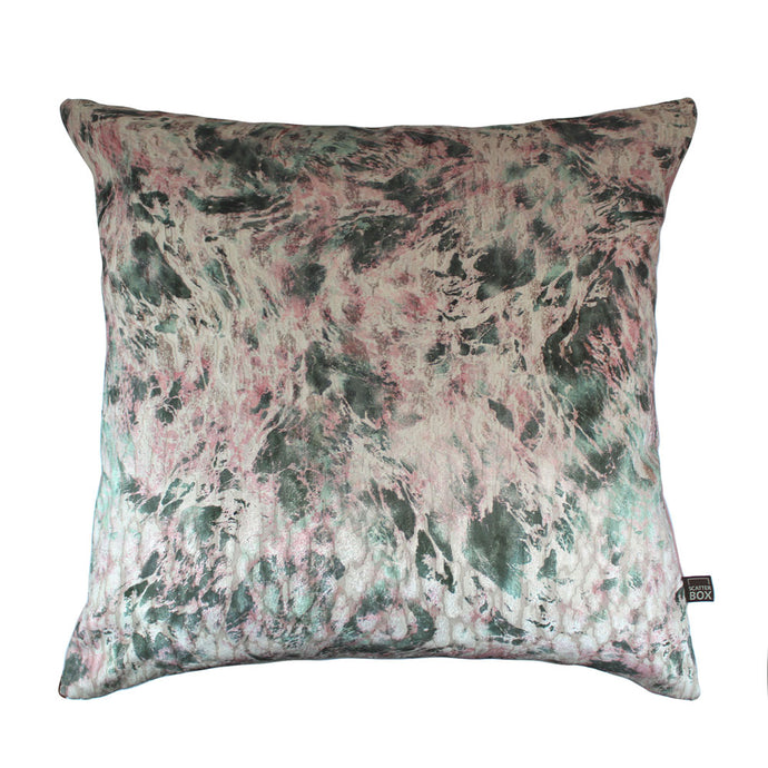 Blush and Sage Velvet Cushion