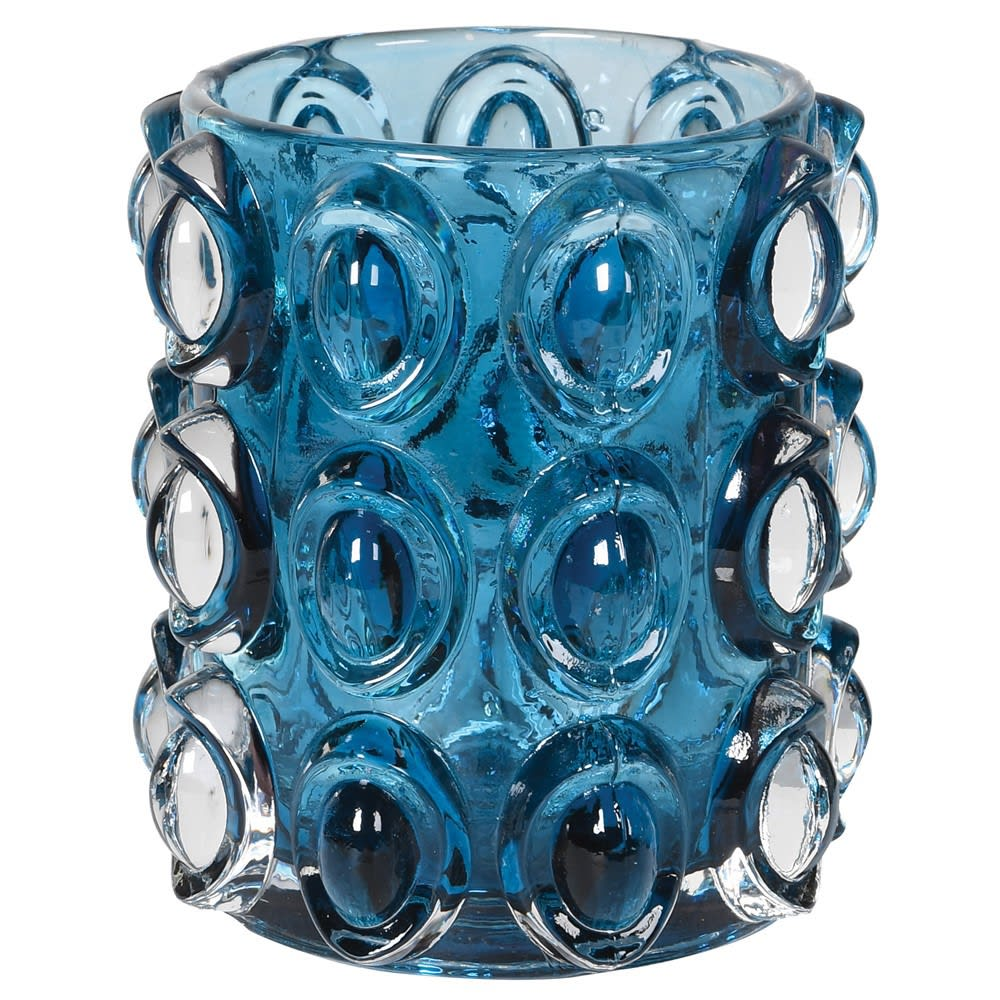 Blue Bubble Glass Candleholder