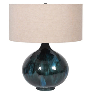 Enamel Blue Lamp with Linen Shade