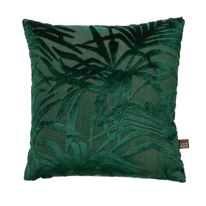 Velvet Green Botanical Cushion