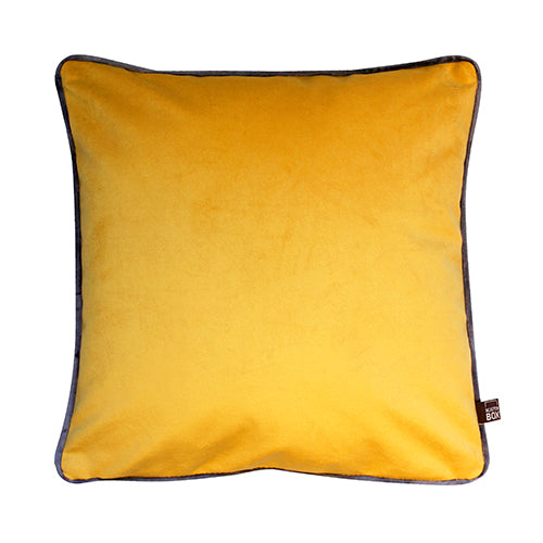 Charcoal Grey and Yellow Duo Velour Cushion