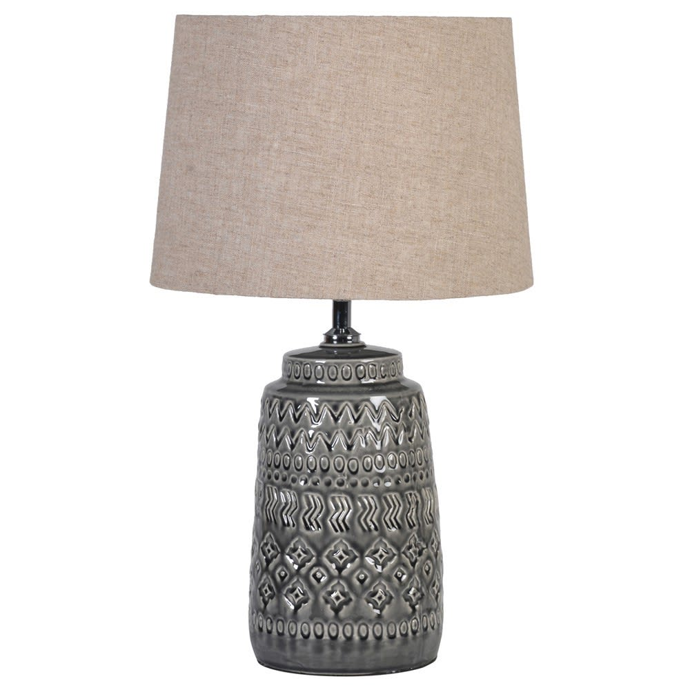 Dark Grey Lamp with Linen Shade