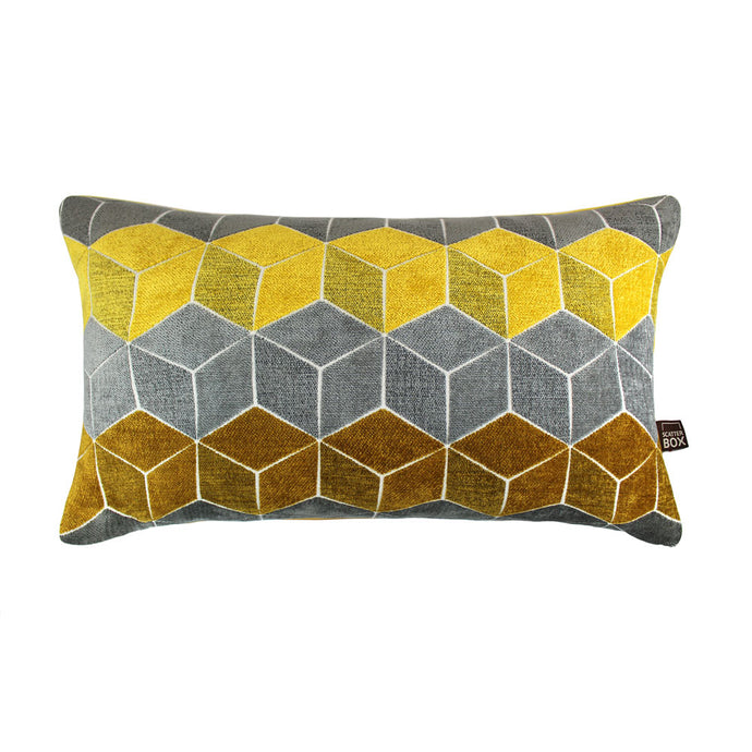 Grey and Yellow Geometric Cushion