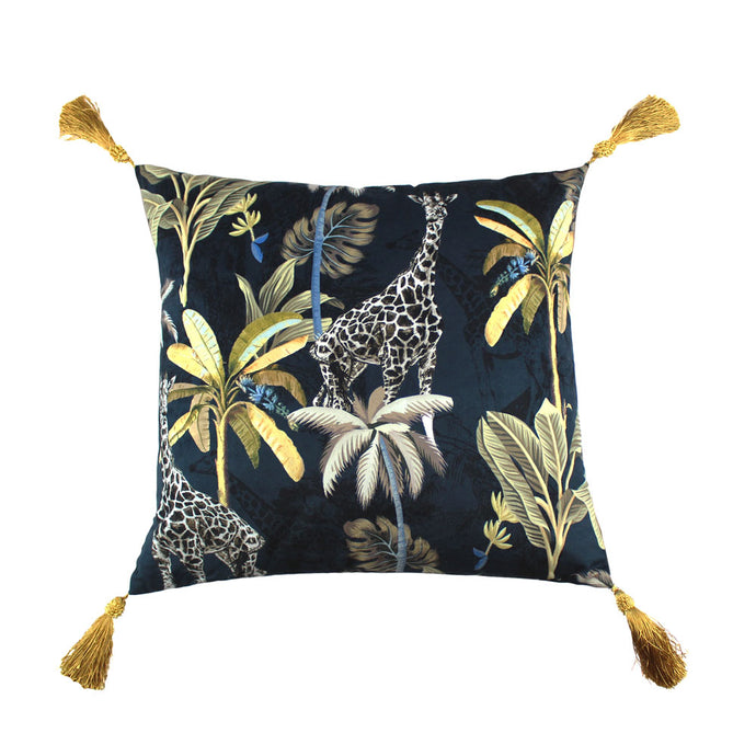 Giraffe Navy and Gold Cushion