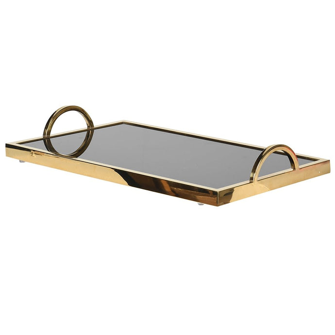 Gold Black Glass Tray