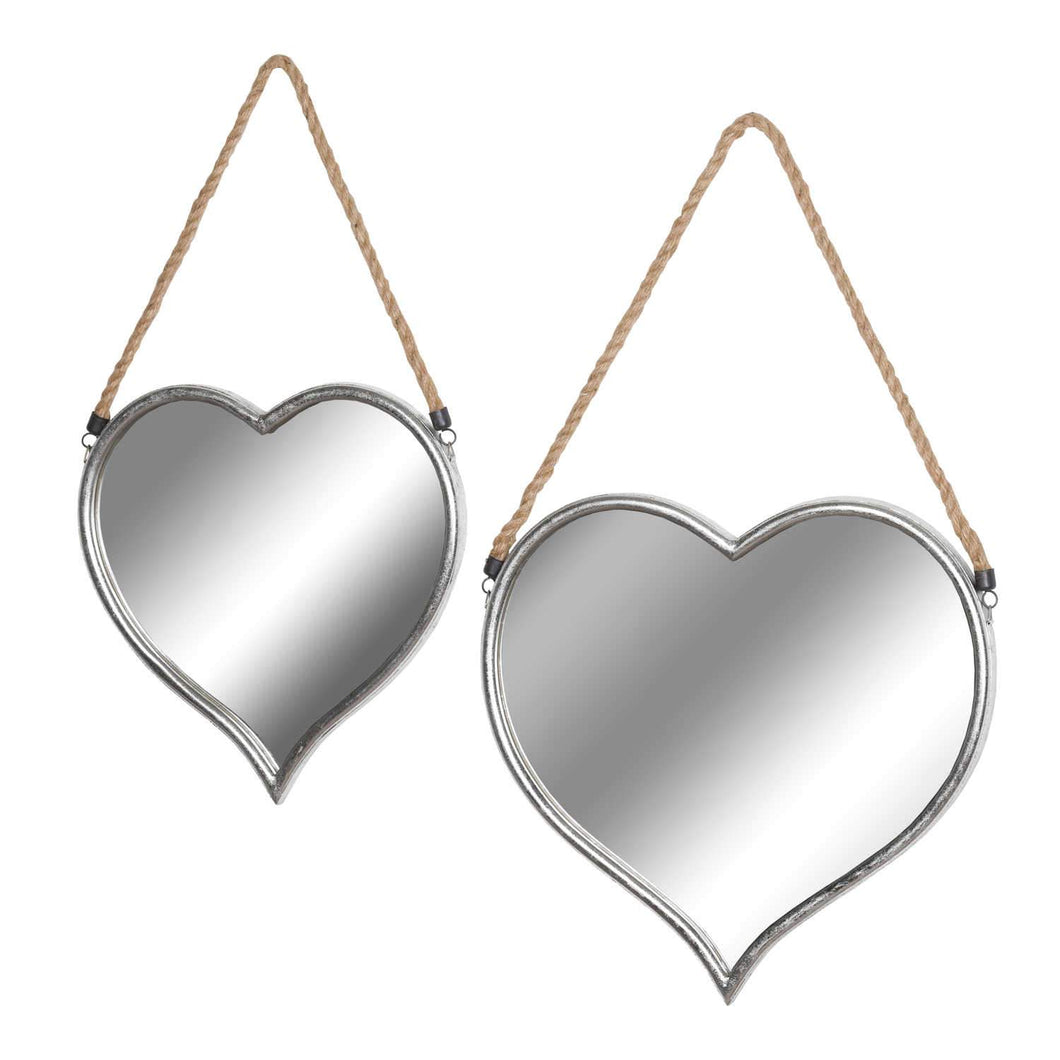 Two Heart Mirrors with Rope