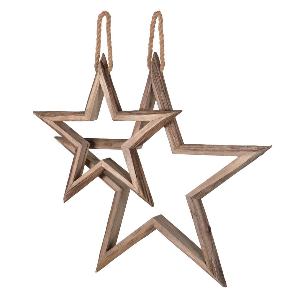 Set of 2 Hanging Wooden Stars