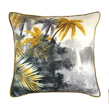 Load image into Gallery viewer, Grey and Ochre Jungle Print Cushion