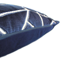 Load image into Gallery viewer, Navy and Grey Velvet Geometric Cushion