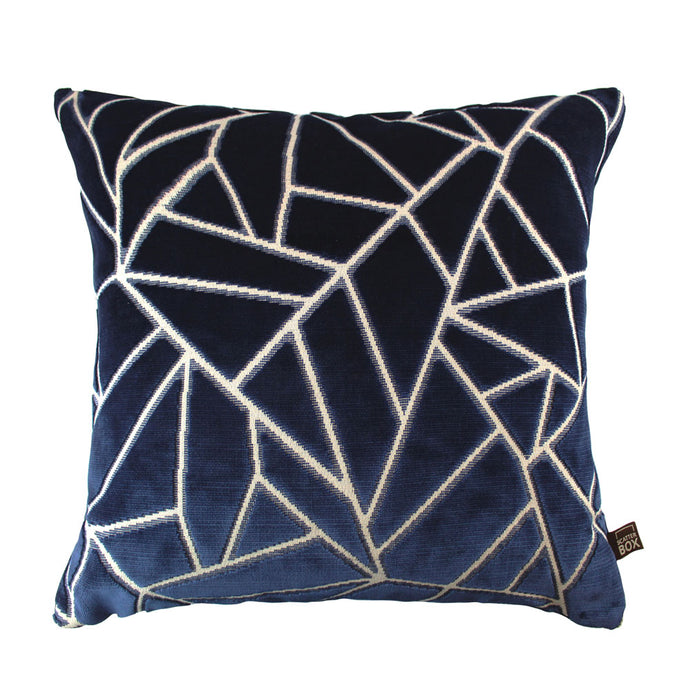 Navy and Grey Velvet Geometric Cushion