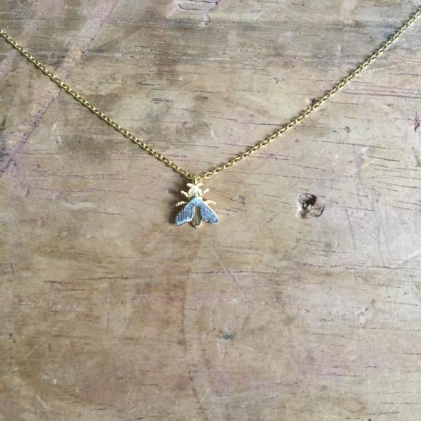 Nouveau Gold and Silver Bee Necklace