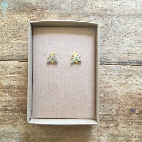 Nouveau Gold and Silver Bee Earrings