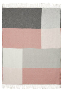 Blush Pink and Grey Check Throw