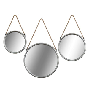 Set of 3 Circular Mirrors with Rope