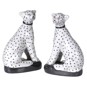 Set of Two Sitting Leopards