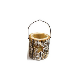 Snow Bark Star Candle Holder