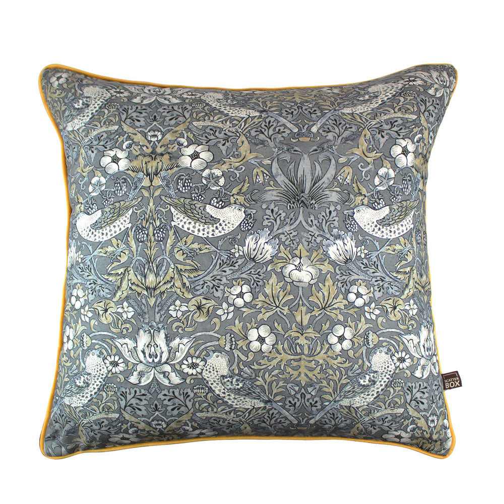 William Morris Grey and Gold Print Cushion 58 x 58 cm